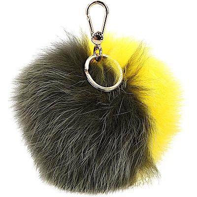 FURLA BUBBLE 雙色狐狸毛球吊飾/鑰匙圈(綠x黃)