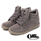 Ollie韓國空運-正韓製米奇刺繡麂皮寬綁帶增高鞋-灰