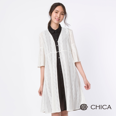 CHICA 空靈飄逸蕾絲五分袖長版外套(1色)