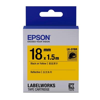 EPSON C53S655417 LK-5YBR反光系列黃底黑字標籤帶(寬度18mm)