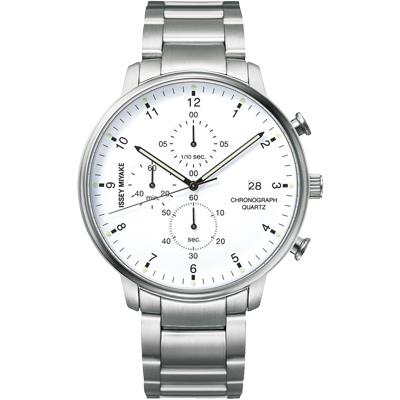 ISSEY MIYAKE 三宅一生C系列三眼計時腕錶(NYAD002Y)-銀/42mm