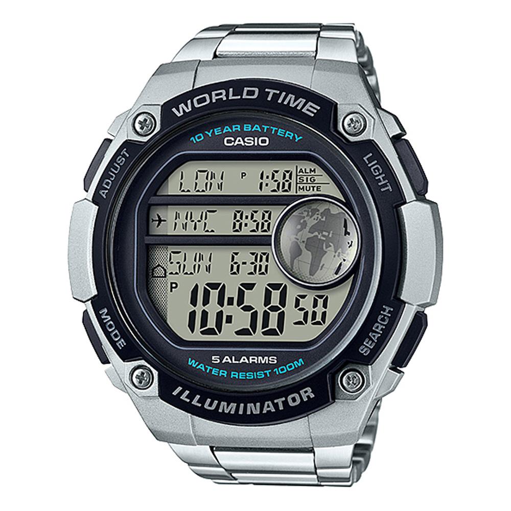 CASIO 球狀大錶面設計潮流運動數位錶(AE-3000WD-1)-不銹鋼帶-55.5mm