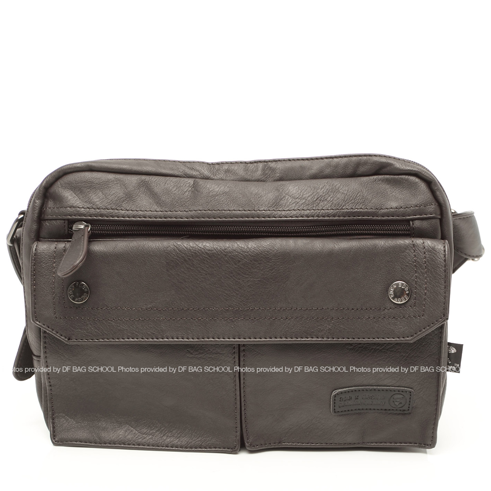 DF BAGSCHOOL - 潮流經典款超軟質皮革側肩包-共2色