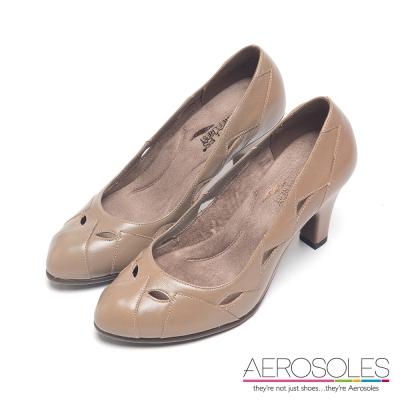 AEROSOLES-原色真皮幾何尖頭高跟鞋-卡其