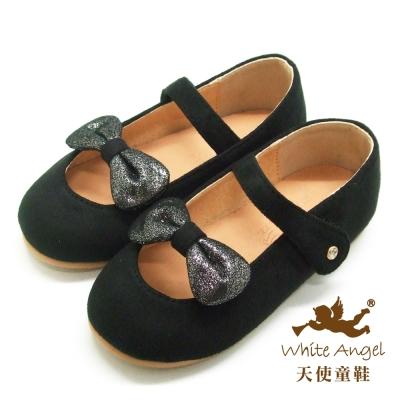 天使童鞋-D394 甜心蝴蝶結絨布娃娃鞋(小-中童)-氣質黑