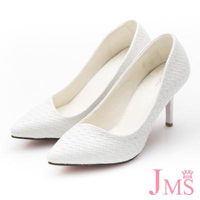 JMS-通勤族必備立體編織壓紋高跟鞋-白色