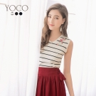 東京著衣-yoco 多色輕甜條紋刺繡針織背心-S.M.L(共三色)