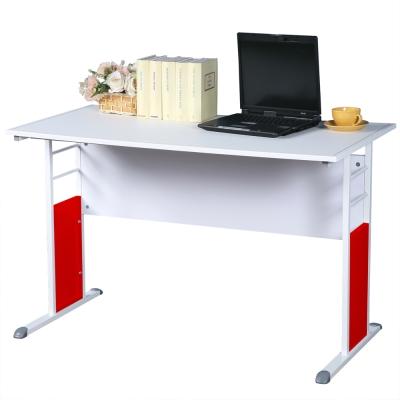 Homelike 巧思辦公桌 亮白系列-白色仿馬鞍皮120cm