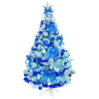 台製6尺(180cm)豪華版冰藍色聖誕樹(銀藍系配件組)(不含燈)