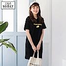 檸檬字母刺繡高含棉寬版連帽洋裝-OB大尺碼