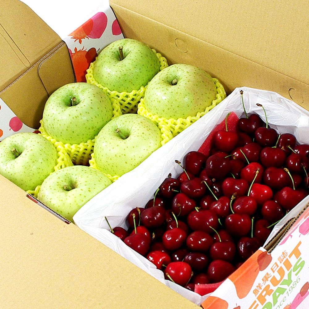 鮮果日誌 - 平安禮讚櫻桃禮盒(日本王林蘋果6入+櫻桃2.5台斤)