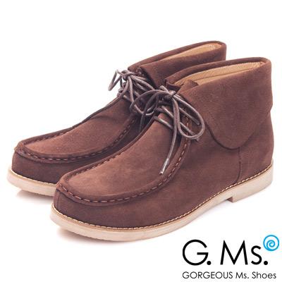 G.Ms. MIT系列-反摺牛麂皮高筒袋鼠鞋-個性咖