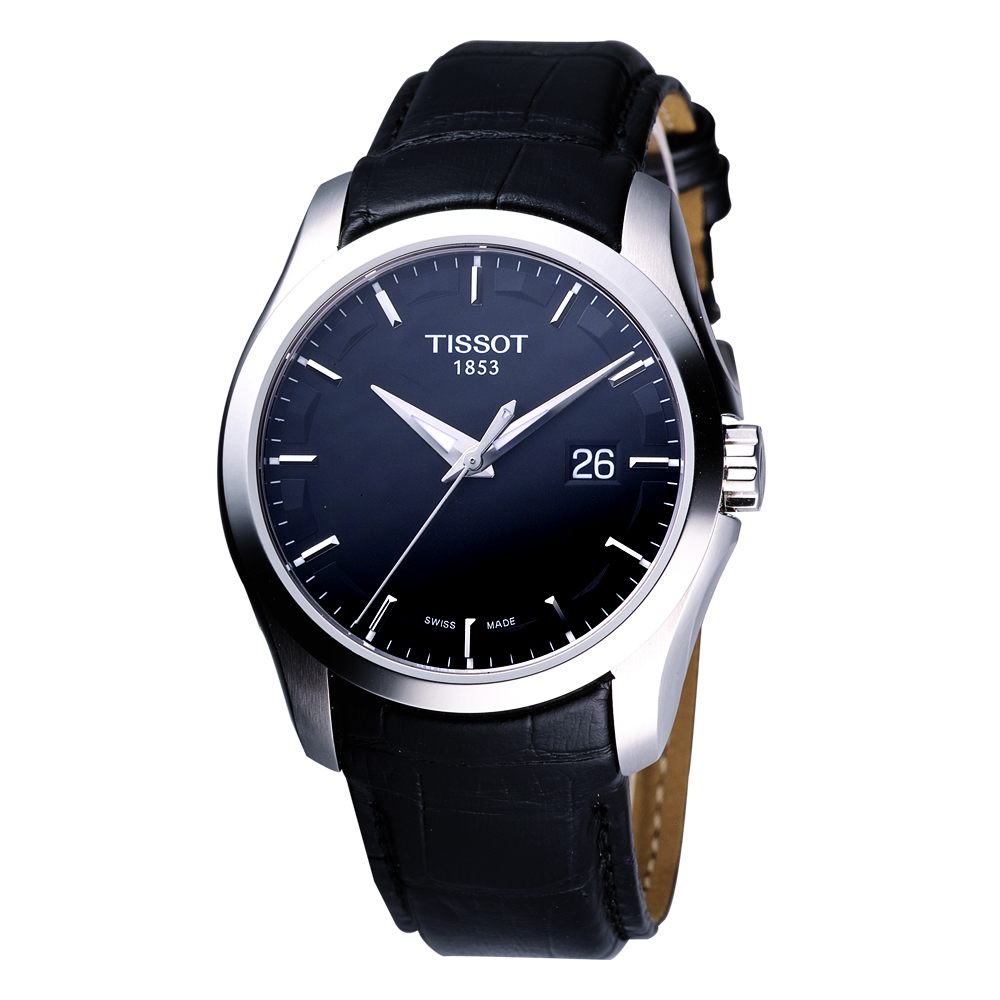 TISSOT Couturier 建構師系列大三針時尚錶-黑/39mm