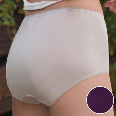 華歌爾 環保奈米級 咖啡紗M-3L中高腰三角褲(煙燻紫)