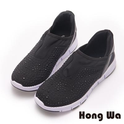 Hong Wa 運動休閒風時尚貼鑽輕盈休閒鞋-黑