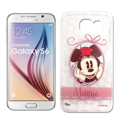 迪士尼 Samsung Galaxy S6 徽章系列透明彩繪軟式手機殼