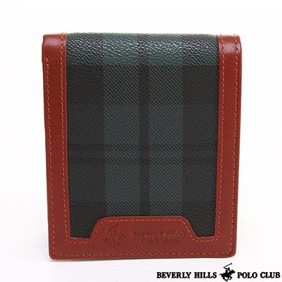B.H. POLO -經典綠格紋 內零錢袋對開短夾