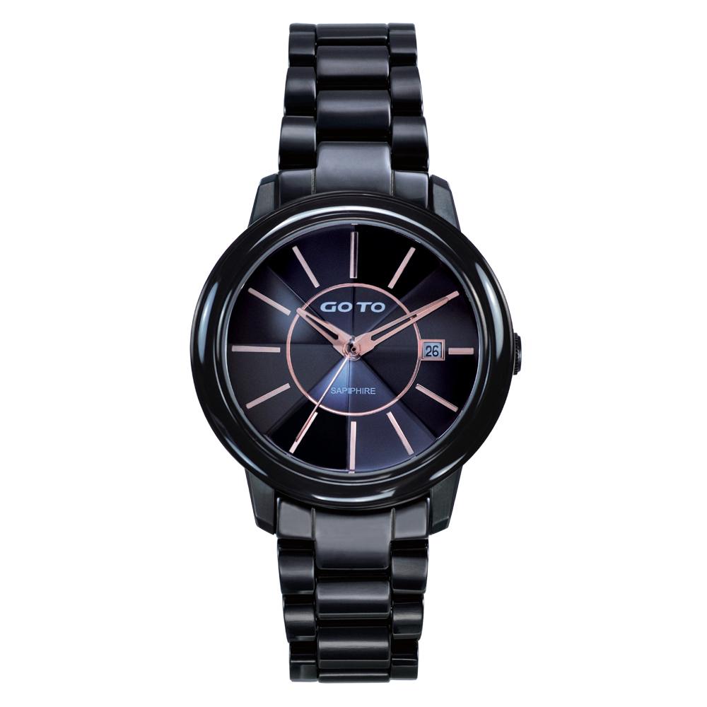 GOTO 潮流未來陶瓷時尚腕錶-黑/38mm