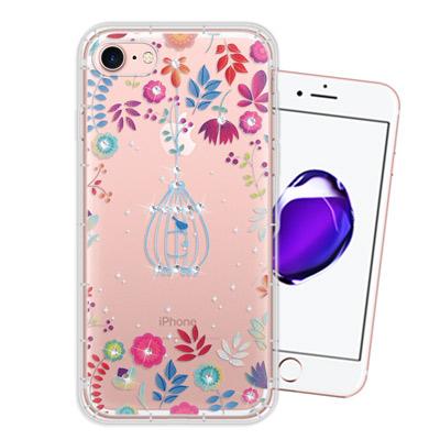 WT iPhone 8/iPhone 7 奧地利水晶彩繪空壓手機殼(鳥羽花萃)