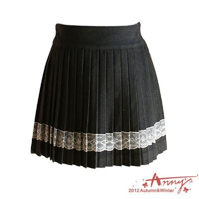 氣質蕾絲裙襬百摺裙*灰