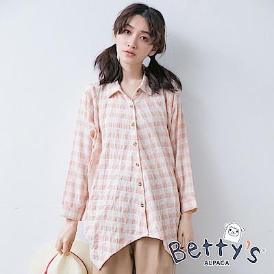betty's貝蒂思 下擺不規則寬鬆格紋七分袖襯衫(淺桔)