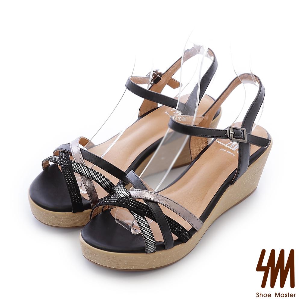 SM-全真皮-繽紛交叉顯瘦中高楔型涼鞋-黑色
