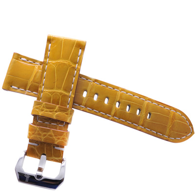 TED SU 太和錶帶 金色時光Panerai 沛納海代用帶芥末黃白色線-24*22mm