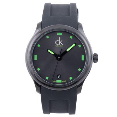 cK Visible 系列電鍍黑夜光錶面腕錶-IP黑x綠時標/40mm