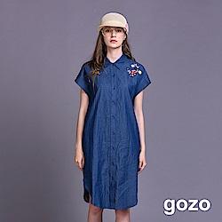 gozo 尖領花朵刺繡落肩丹寧長版襯衫(二色)