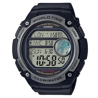 CASIO 球狀大錶面設計潮流運動數位錶(AE-3000W-1A)-黑x灰框-55.5mm