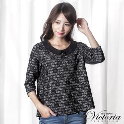 Victoria 全蕾絲寬鬆八分袖T-女-黑色