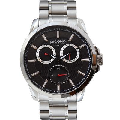 PICONO Eunice系列 全日曆時尚腕錶-黑/ 48 mm