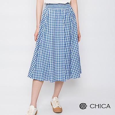 CHICA 美式鄉村百褶格紋傘狀中長裙(2色)