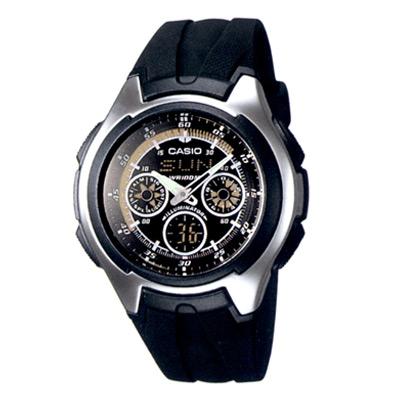 CASIO 終極殺陣炫黑雙顯錶(AQ-163W-1B1)-黑底白圈/43.1mm