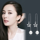 梨花HaNA 韓國925銀星光閃耀珍珠耳線耳環