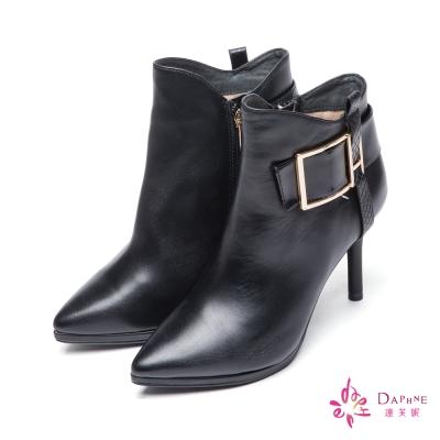 達芙妮x高圓圓-圓漾系列時尚型女金屬方釦高跟短靴