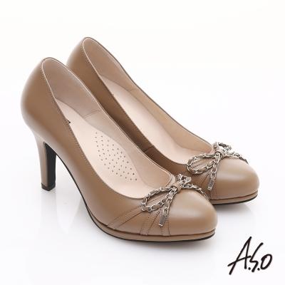 A.S.O 優雅時尚 真皮鍊帶蝴蝶結飾高跟鞋 卡其