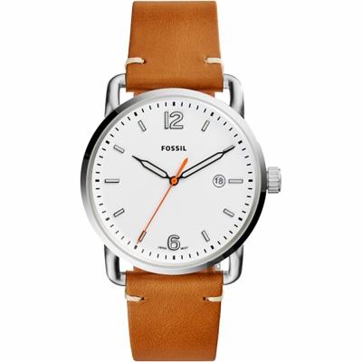 FOSSIL Commuter 尊爵時尚腕錶(FS5395)-白x咖啡錶帶/42mm