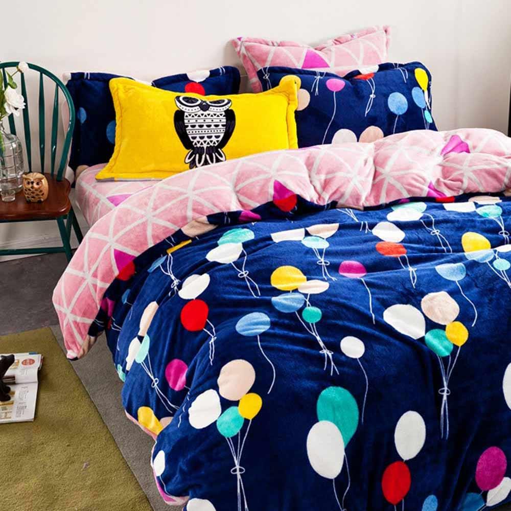 Ania Casa 超保暖法蘭絨-雙人床包被套四件組-夢幻童年