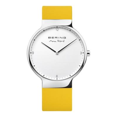 BERING- MAX RENE設計師聯名款 白錶盤x檸檬黃 矽膠錶帶40mm