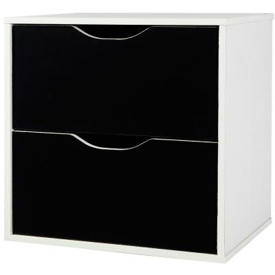 EASY HOME 魔術方塊雙抽收納櫃-太空黑