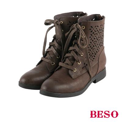 BESO花漾甜心 簍空雕花綁帶全真皮短靴~咖啡