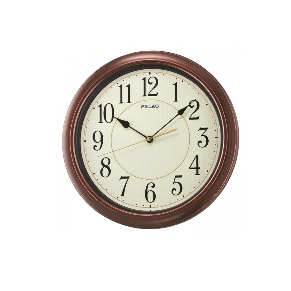 SEIKO 日本精工 仿木紋 滑動式秒針靜音掛鐘 時鐘(QXA616B)-咖啡/32.cm