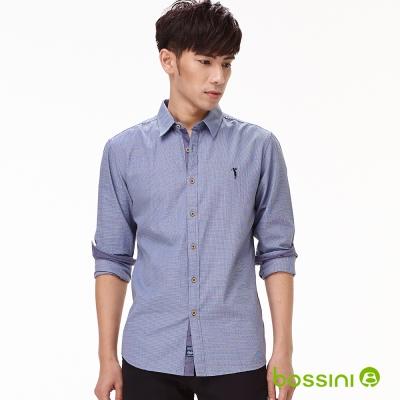 bossini男裝-印花長袖襯衫07藍