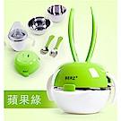 BERZ 英國貝氏 彩虹兔五合一組合不鏽鋼餐具組 綠色 (送同色防水收納袋)
