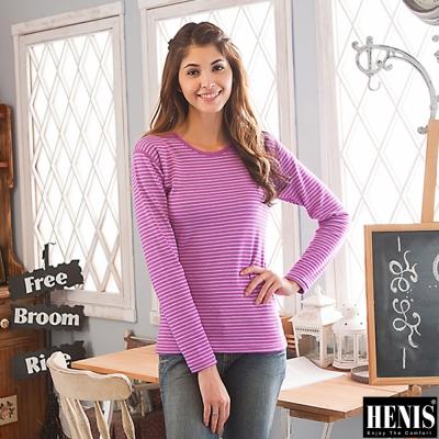 HENIS <b>2</b>件組時尚經典速暖絨印花圓領媽咪衛生衣