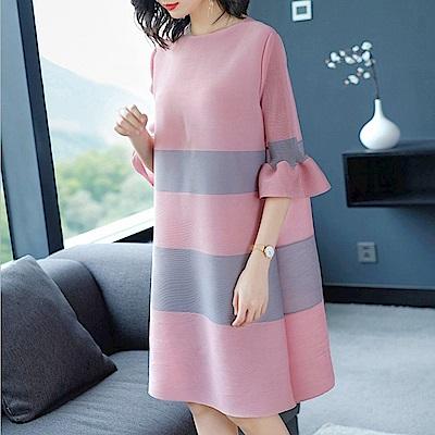 撞色粗橫條紋喇叭袖洋裝(共二色)-糖潮