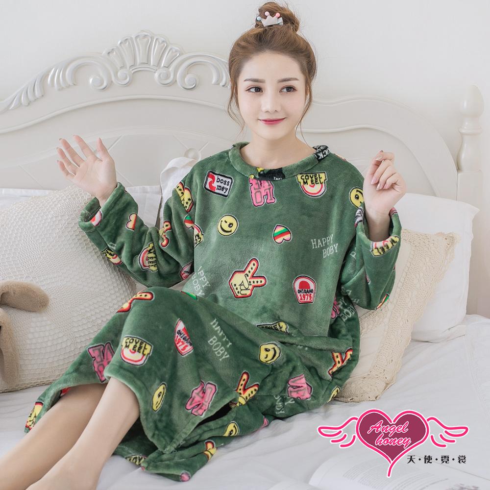 保暖睡衣 趣味時光 法蘭絨一件式連身長袖居家服(芥綠F) AngelHoney天使霓裳