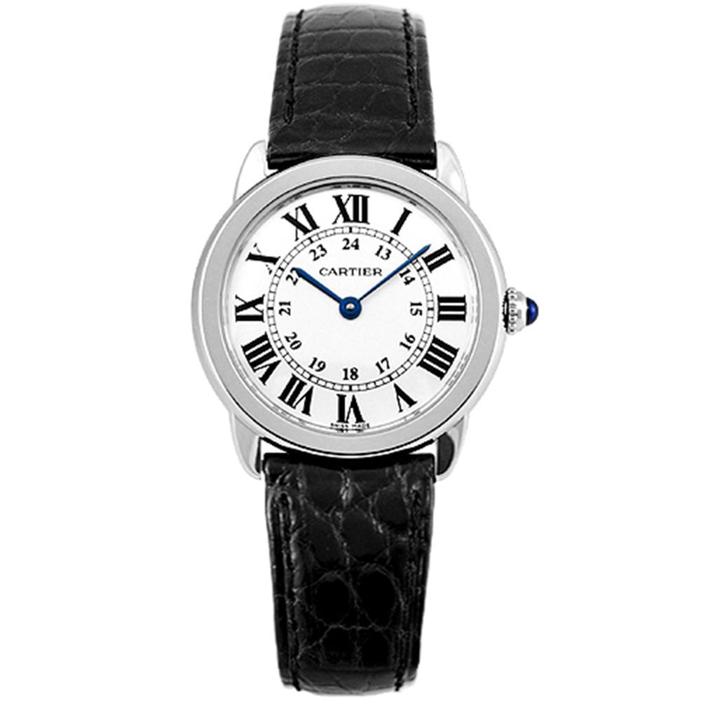 CARTIER RONDE SOLO經典小型皮帶腕錶-米白29.5mm