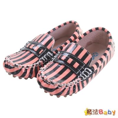 KUKI 酷奇俏皮斑馬條紋質感系童鞋(粉黑條紋)~sh0552